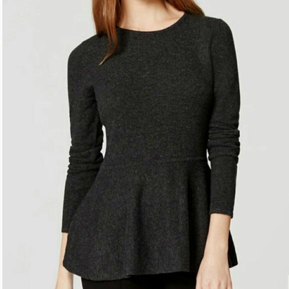 Ann Taylor Italian Wool Peplum Gray Sweater Top